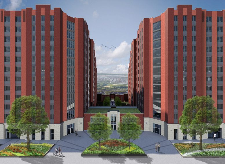 A rendering of the courtyard at 1520 and 1530 Story Avenue.