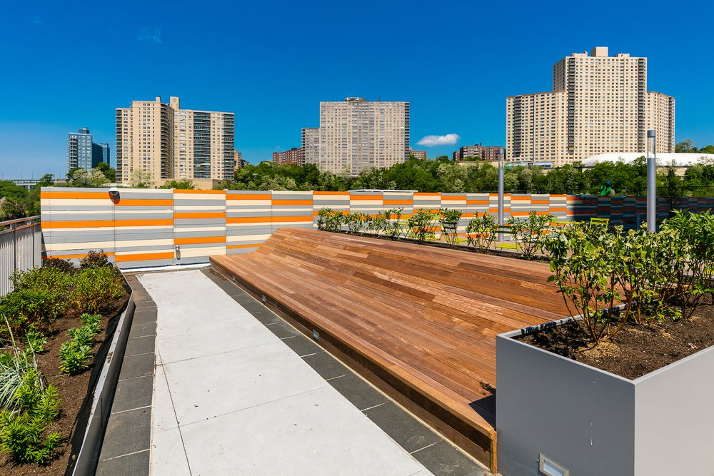 Green space benches at Promenade Apartments