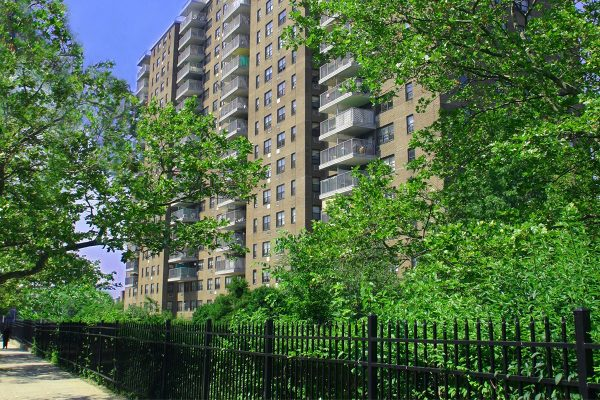 A photo of Hazel Towers, Bronx, NY from the sidewalk