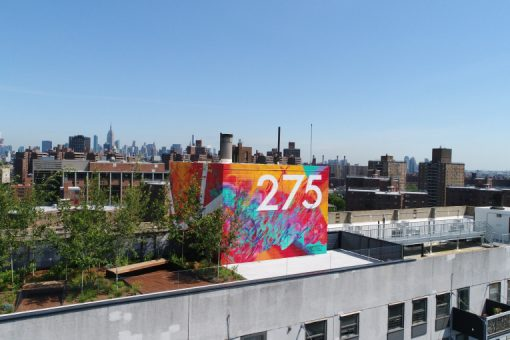 The rooftop common area at 275 South Street on the Lower East Side