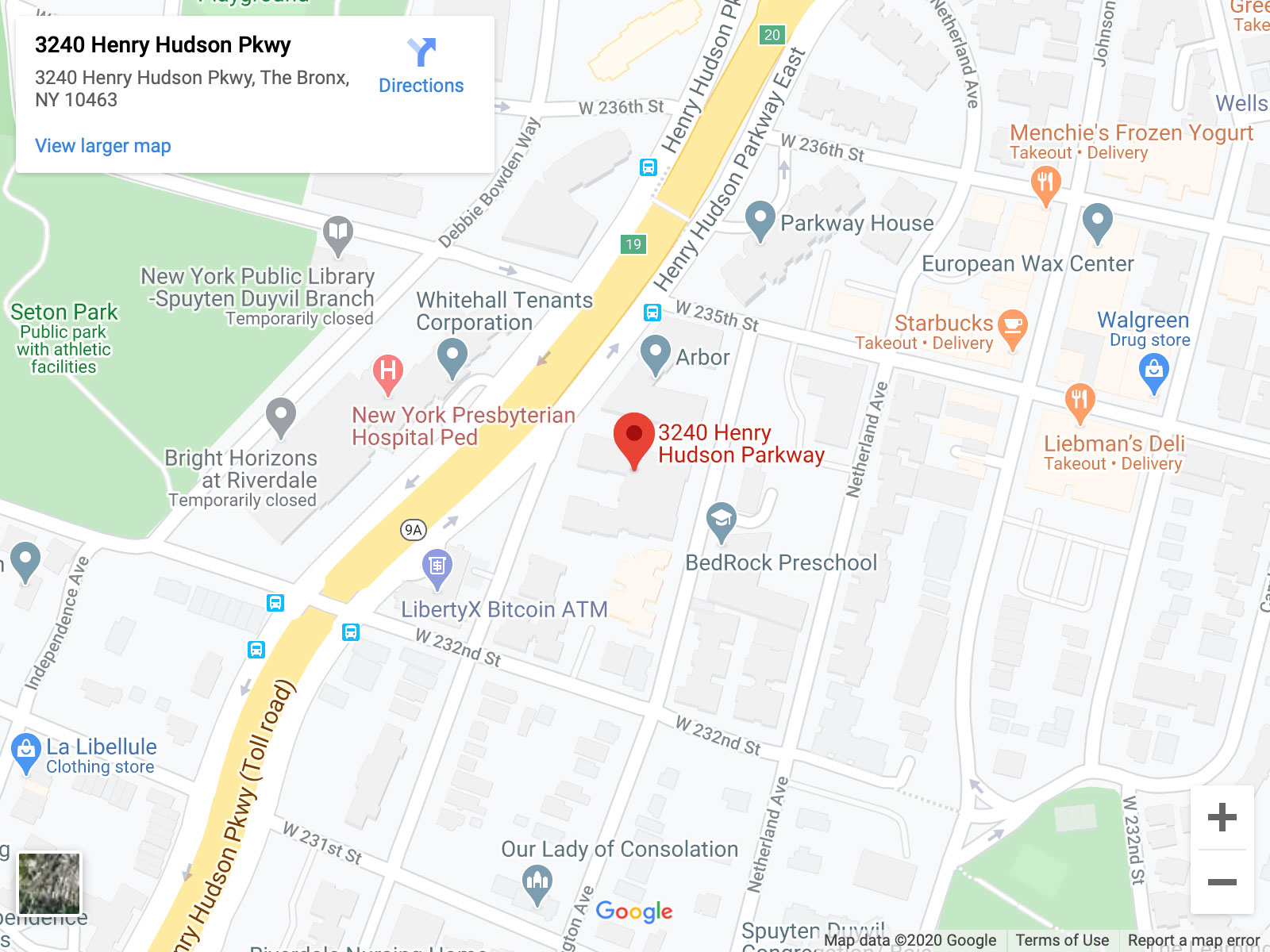 A map showing the location of 3240 Henry Hudson Parkway, Bronx, NY