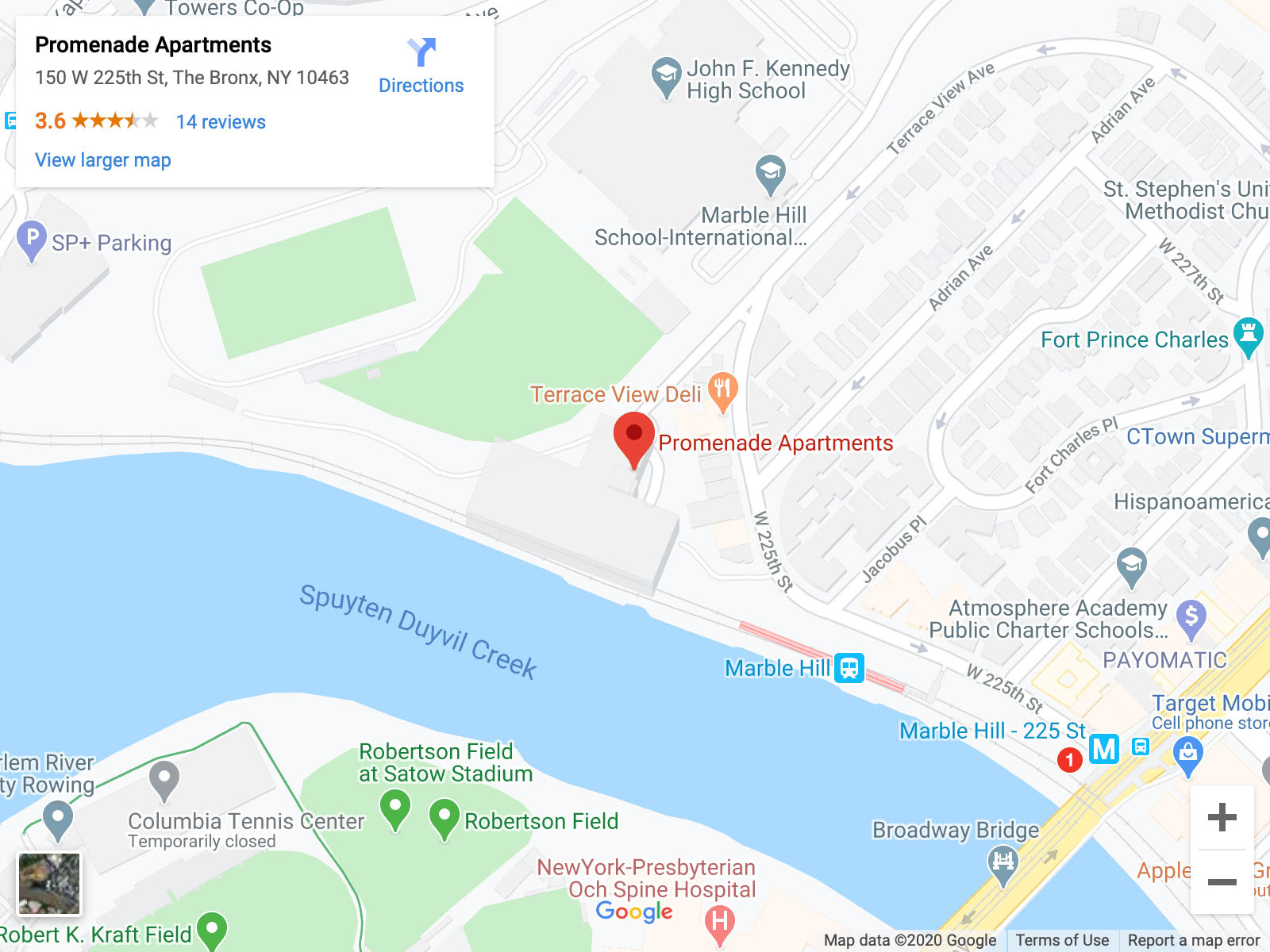 A map showing the location of Promenade Apartments in the Bronx