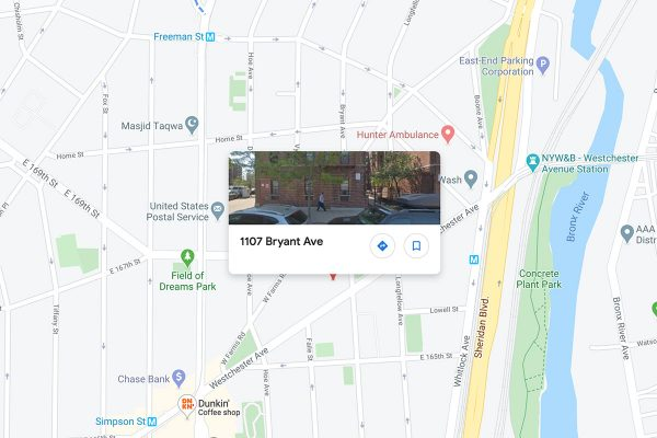 A screenshot of a map showing 1107-1119 Bryant Avenue, Bronx, New York