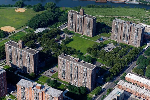 An aerial photo of the Lafayette Boynton Apartment buildings in Bronx, New York